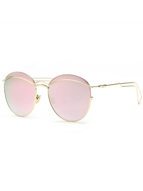 best Crossbar Metallic Mirrored Sunglasses - PINK  Mobile