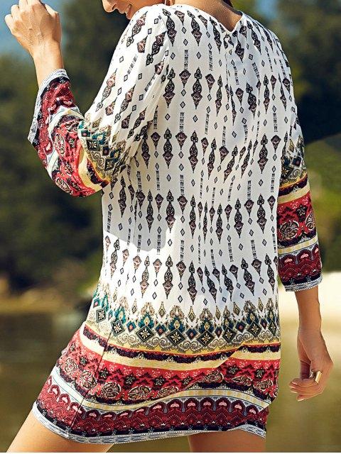 fancy Retro Print Round Neck 3/4 Sleeve Dress - WHITE S Mobile