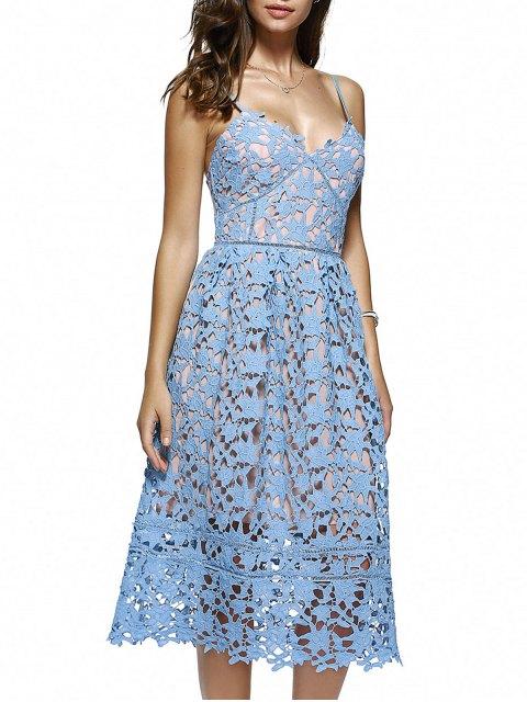 Robe mi-longue en crochet floral à bretelles spaghettis - Azur S Mobile