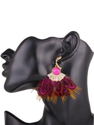 Faux Feather Drop Earrings - Rose Madder