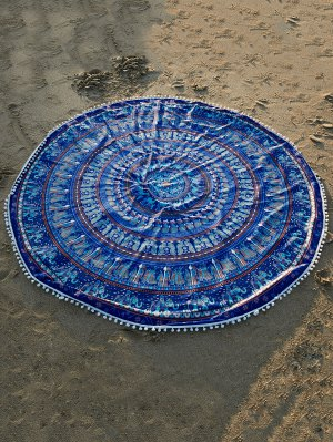 Ethnic Printed Beach Throw - Blue