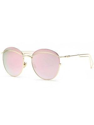 Crossbar Metallic Mirrored Sunglasses - Pink