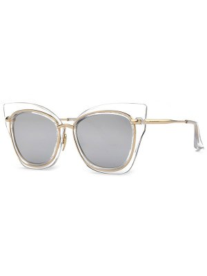 Cat Eye Mirrored Sunglasses - Silver