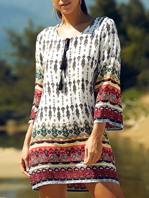 Retro Print Round Neck 3/4 Sleeve Dress - White