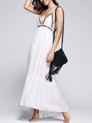 Halter Ruffles Backless Embroidery Long Dress - White