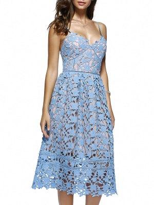 Cami Crochet Flower Midi Dress - Azure
