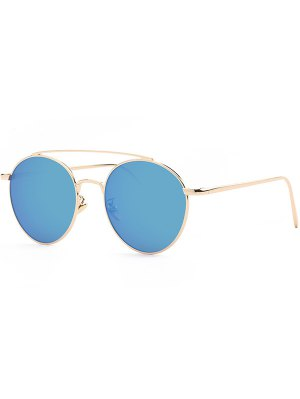 Metal Frame Mirrored Sunglasses - Blue
