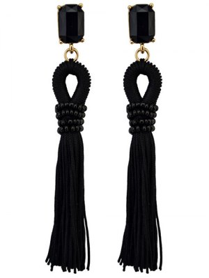 Faux Crystal Fringe Earrings - Black