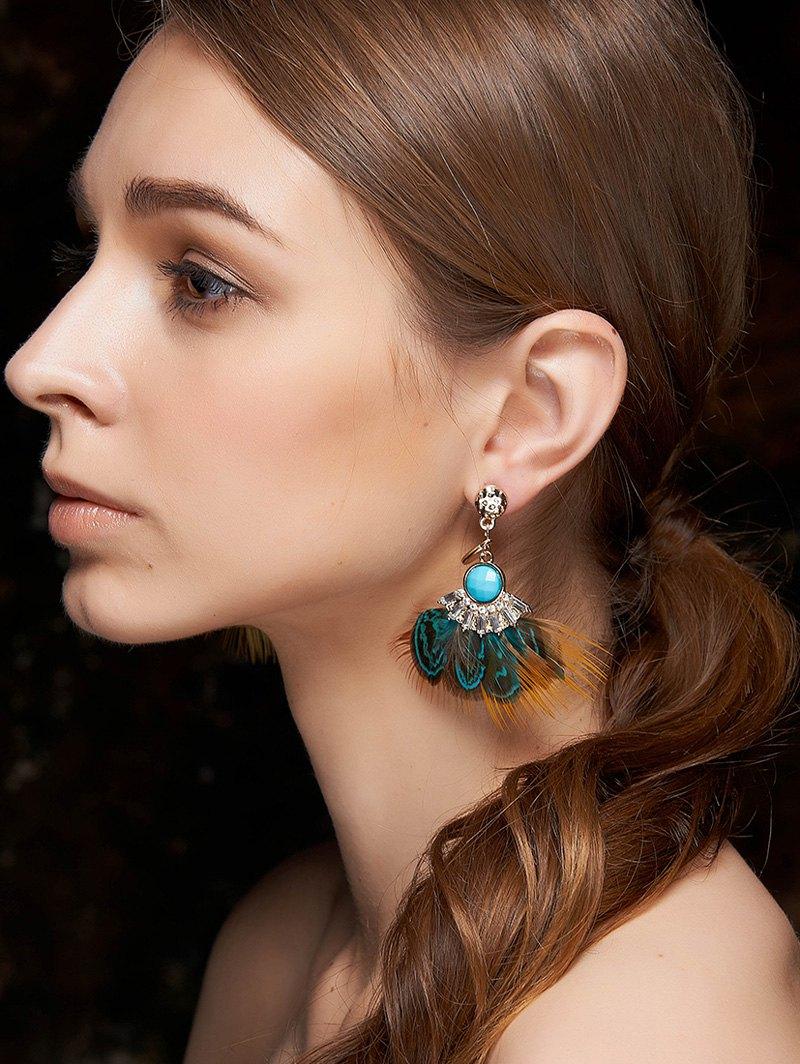 Faux Gem Rhinestone Feather Earrings