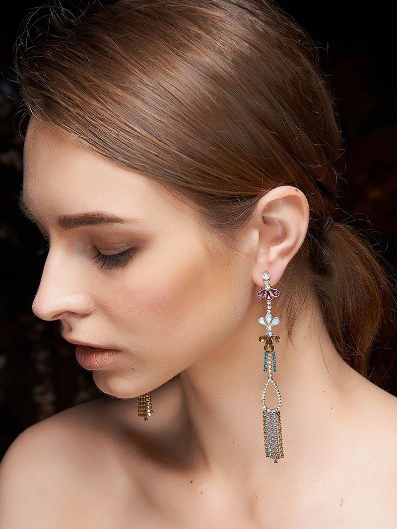 Rhinestone Fringe Dangle Earrings