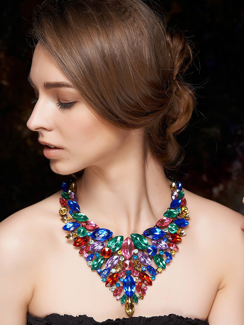 Colorful Faux Crystal Necklace
