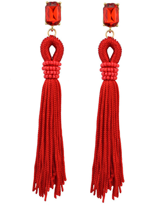 Faux Gem Fringe Earrings