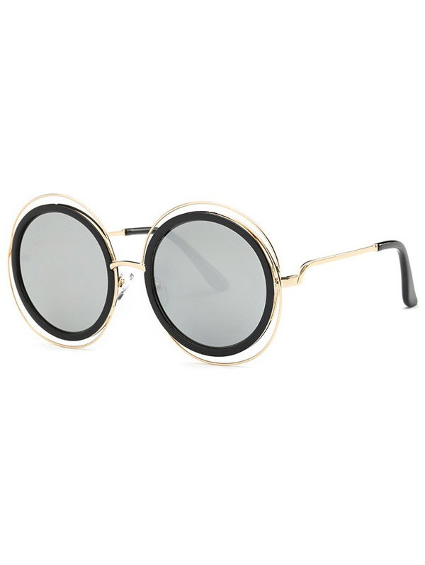 Cut Out Round Mirrored Sunglasses