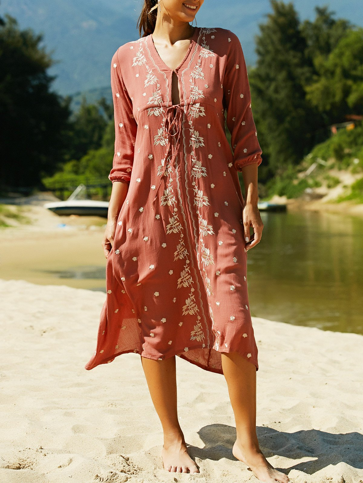V Neck 3/4 Sleeve Embroidered Ethnic Style Dress