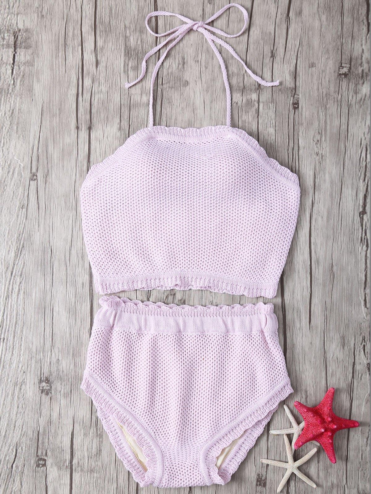 Halter Crochet High Waisted Bikini
