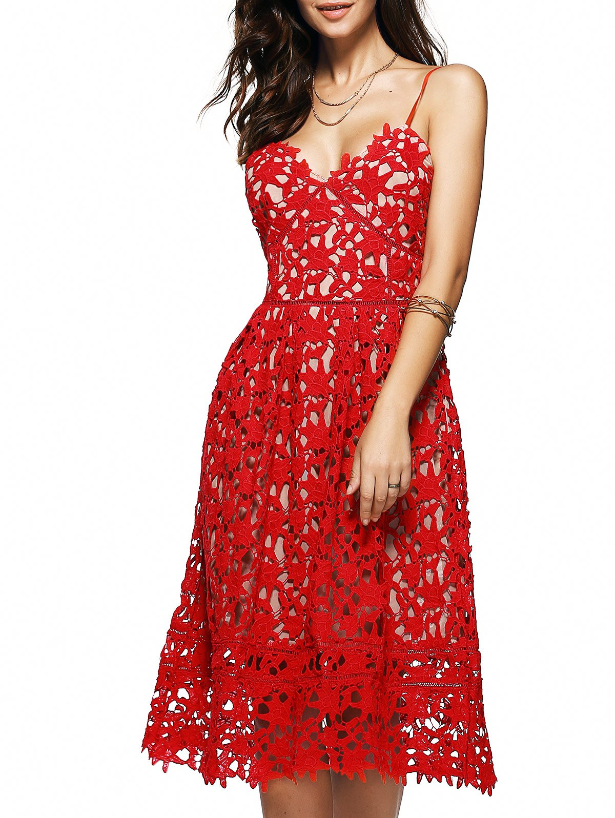 Spaghetti Straps Crochet Flower Cut Out Dress