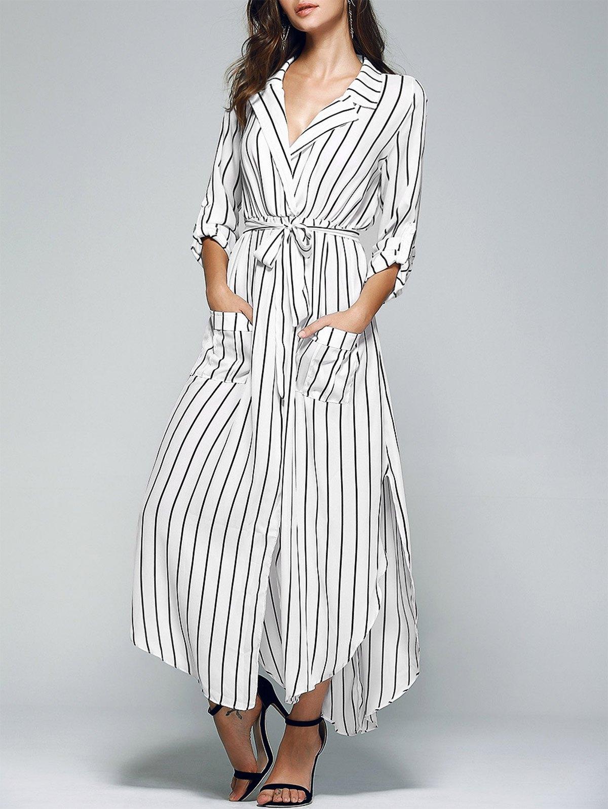 Long Sleeve Slit Striped Dress