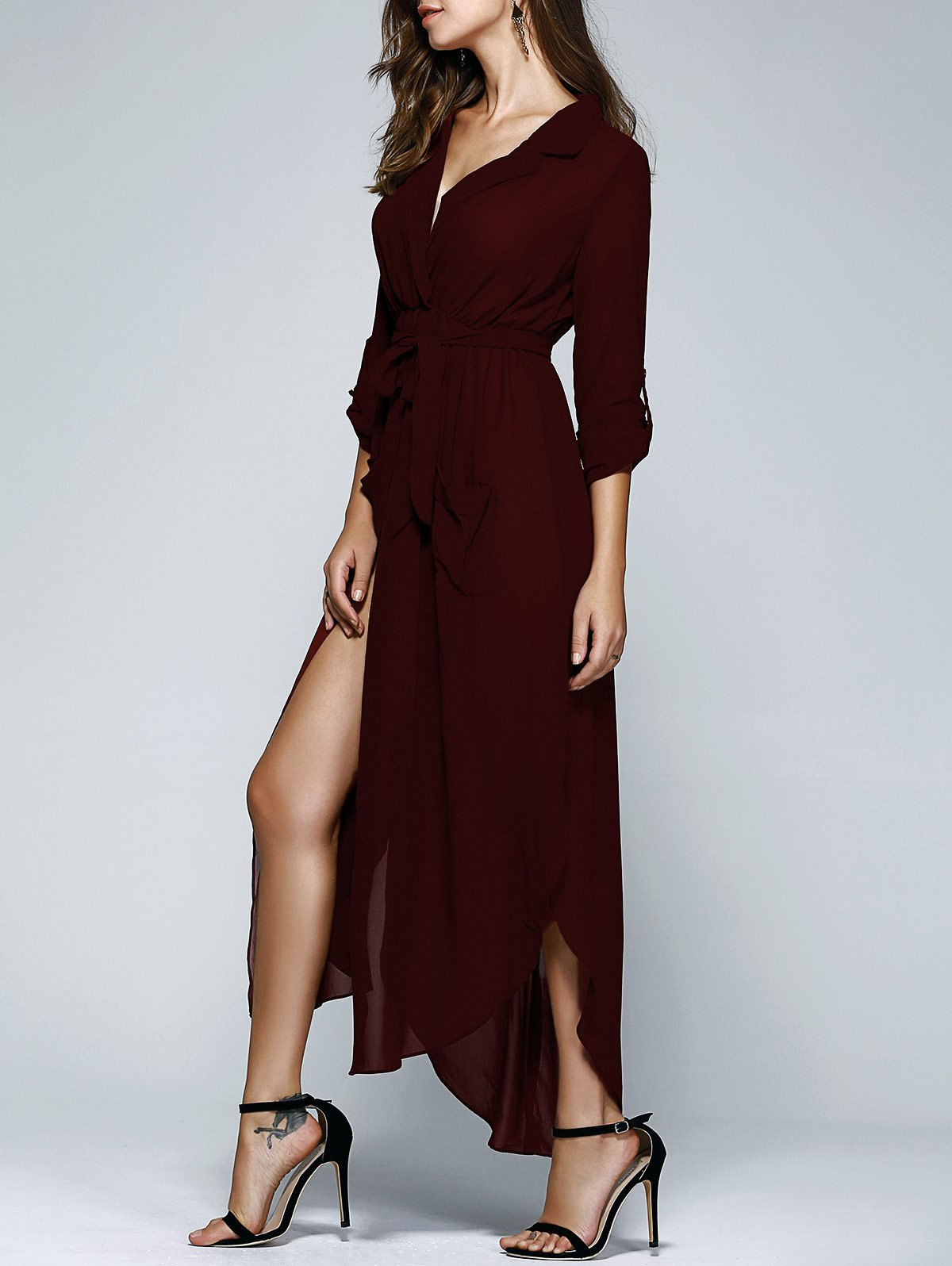 Lapel Collar Long Sleeve Solid Color Pockets Belted Dress