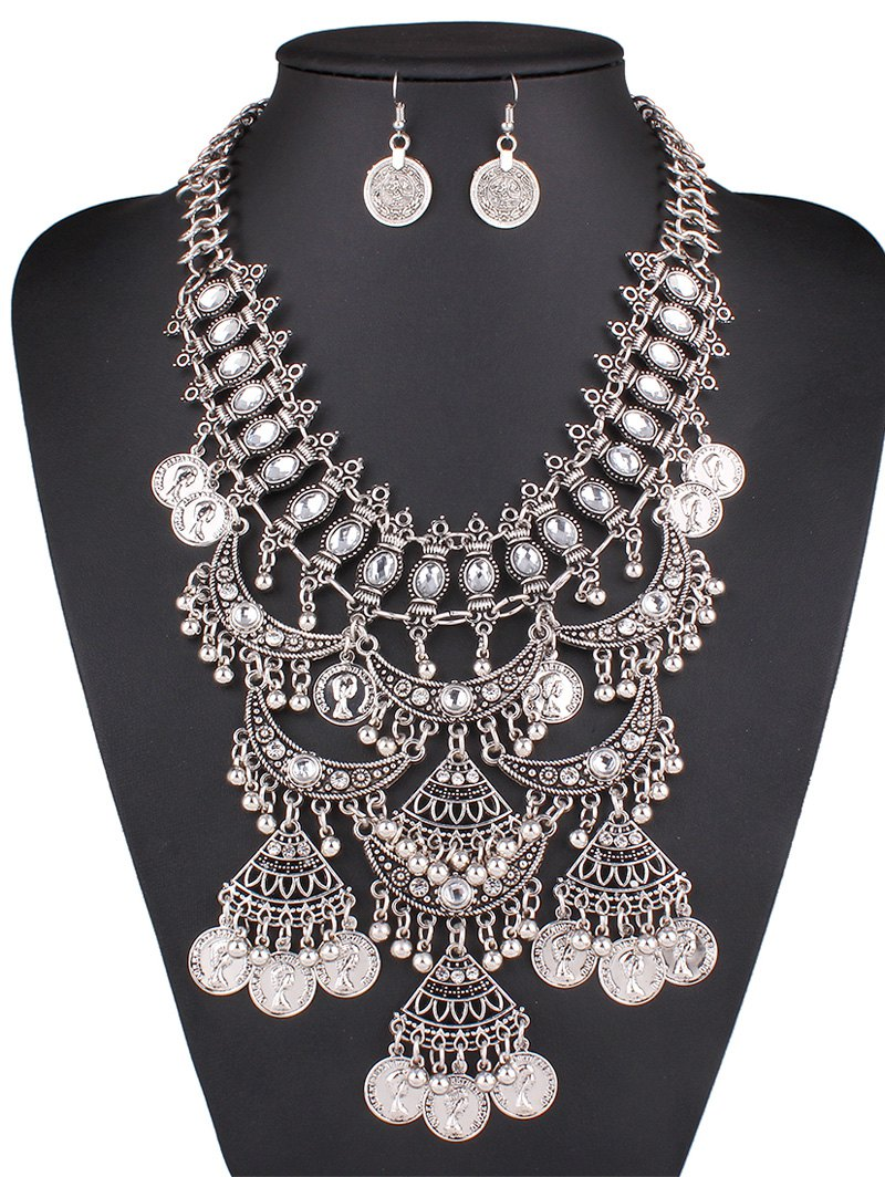 Rhinestone Fringe Necklace and Earrings