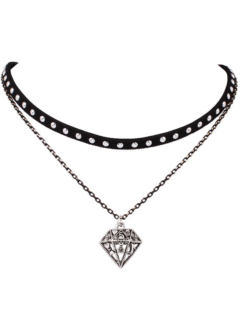 Hollowed Diamond Layered Choker