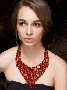 Buy Faux Ruby Layered Necklace -