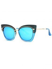 Cat Eye Mirrored Sunglasses - Blue