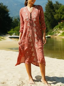 V Neck 3/4 Sleeve Embroidered Ethnic Style Dress - Claret