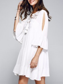 Bell Sleeve Tiered Dress With Cami Dress WHITE: Casual Dresses S ...