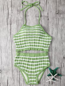 Halter Striped High Waisted Bikini