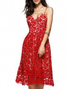 Cami Crochet Flower Midi Dress - Red