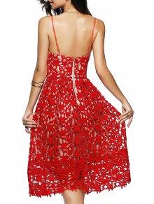 Cami Crochet Flower Midi Dress - RED M