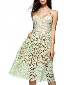 Cami Crochet Flower Midi Dress - Light Green