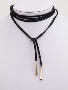 Bar Layered Wrap Necklace - BLACK