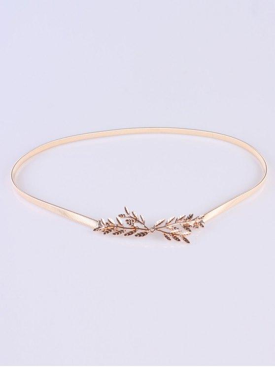 Small Leaf Branch Elastic Waist Belt - GOLDEN  Mobile