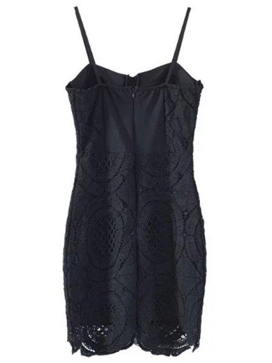 Lace Spliced Spaghetti Straps Padded Dress - BLACK S Mobile