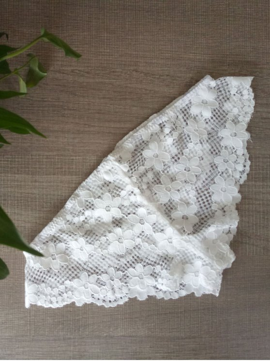 buy Solid Color Lace Hook Panties - WHITE S