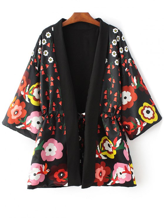 womens Floral Print 3/4 Sleeve Waisted Kimono Coat - BLACK M