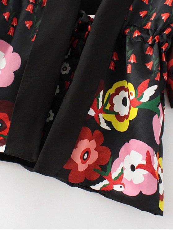 Floral Print 3/4 Sleeve Waisted Kimono Coat - BLACK M Mobile