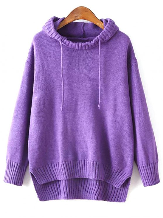 Hooded Uneven Hem Sweater - PURPLE ONE SIZE Mobile