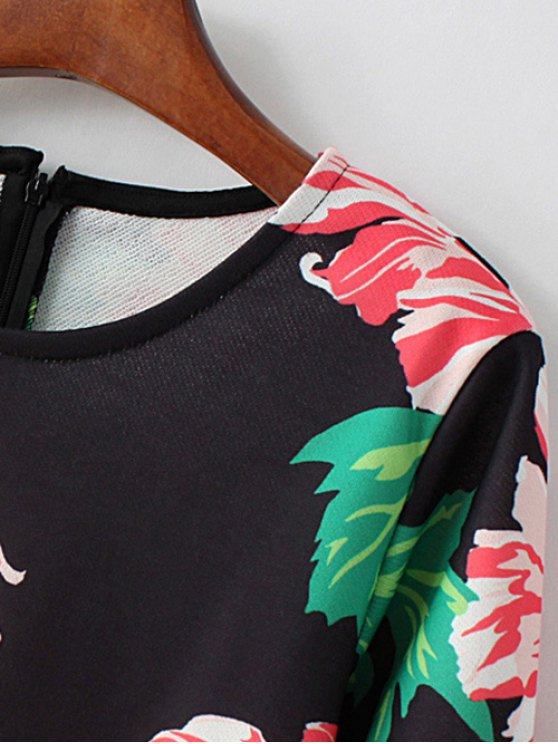 Round Neck Floral Print Sweatshirt - BLACK M Mobile