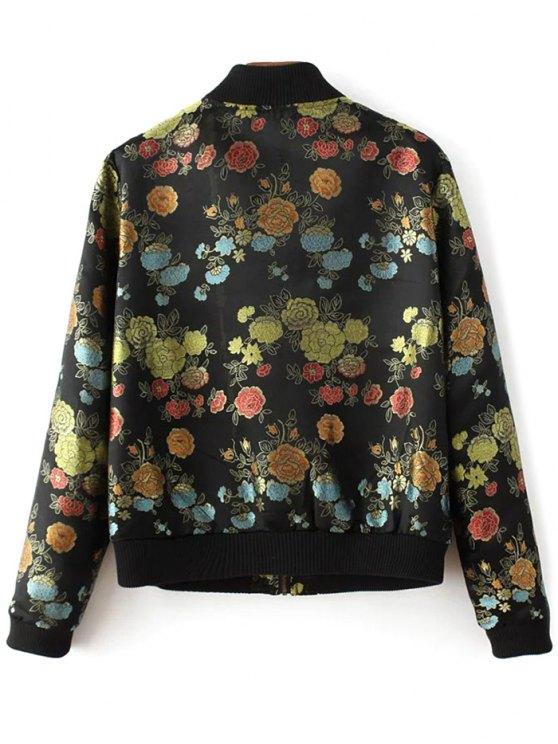 Flower Embroidery Zippered Bomber Jacket - BLACK S Mobile