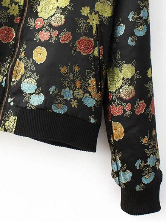 Flower Embroidery Zippered Bomber Jacket - BLACK L Mobile