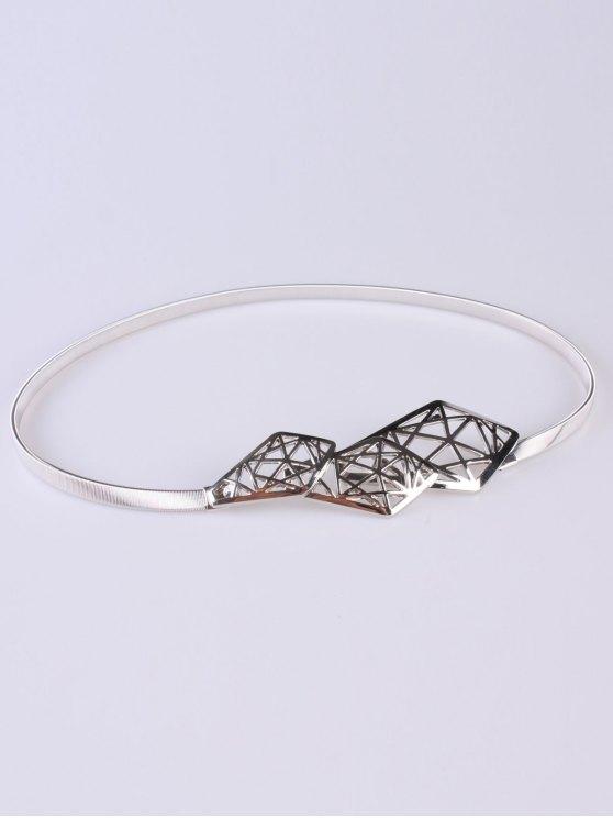 buy Cut Out Geometry Elastic Waist Belt - SILVER