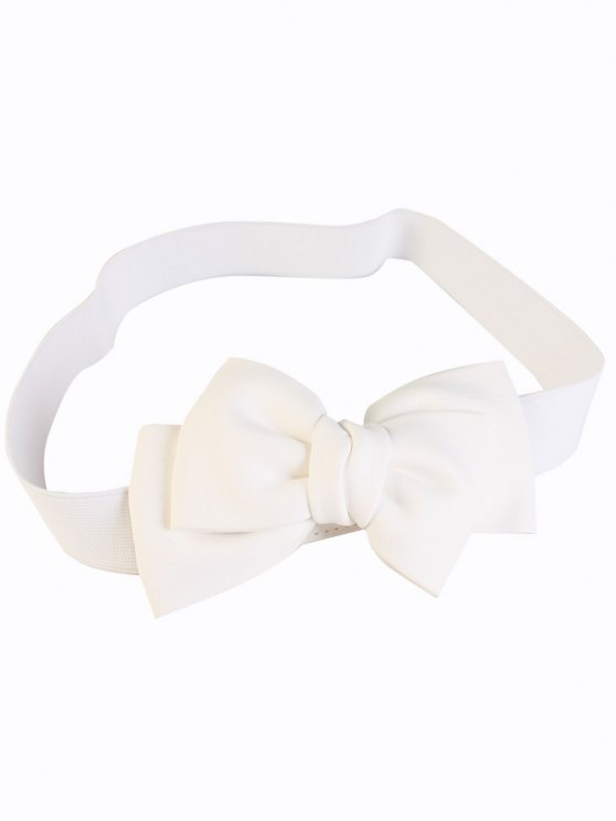Big Bowknot Wide Elastic Belt - WHITE  Mobile