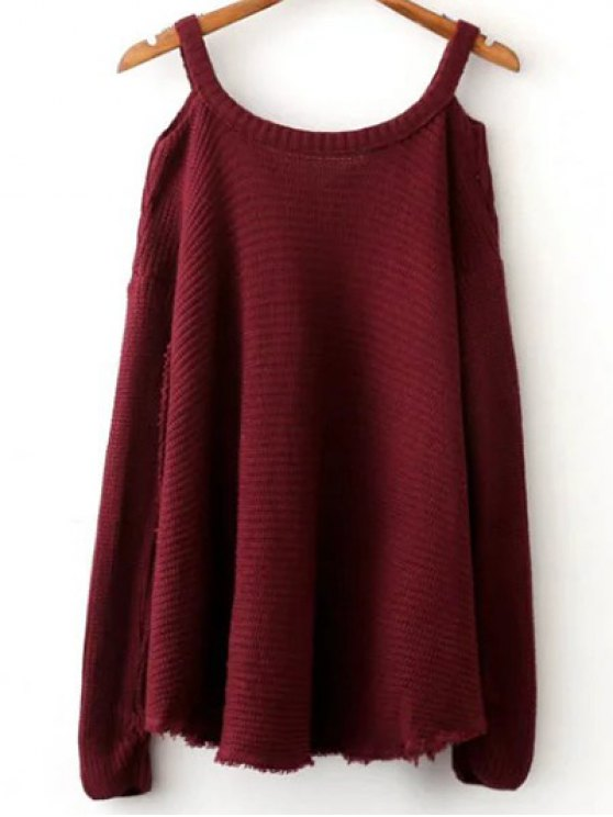 Distressed Cold Shoulder Sweater - WINE RED ONE SIZE Mobile