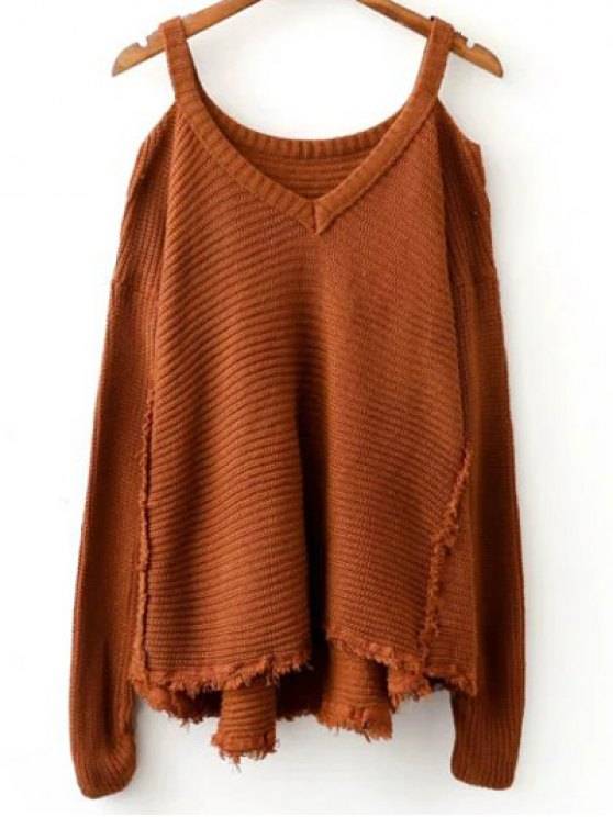 Distressed Cold Shoulder Sweater - COFFEE ONE SIZE Mobile
