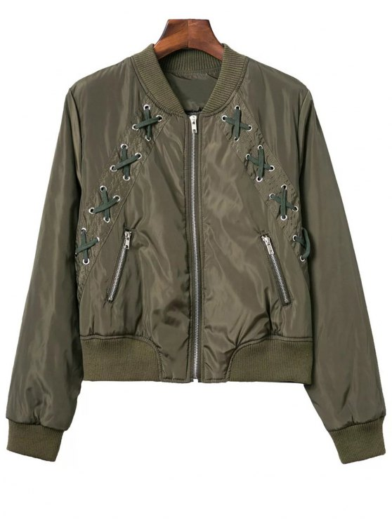 Lace Up Stand Neck Zipper Jacket - ARMY GREEN M Mobile