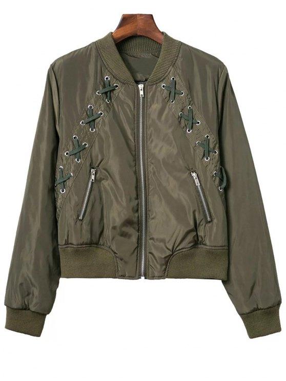 Ate para arriba el soporte de cuello chaqueta de la cremallera - Verde del ejército M