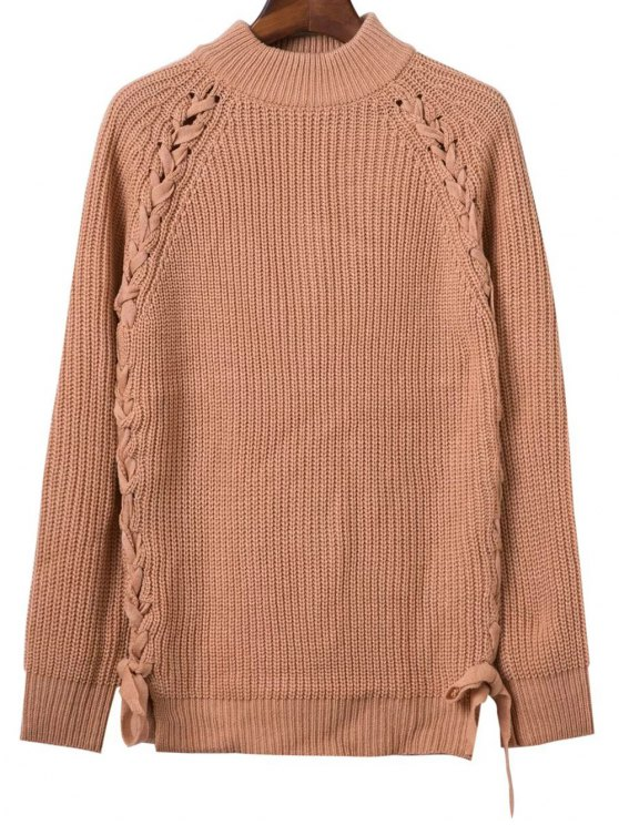 affordable Lace Up Mock Neck Solid Color Sweater - KHAKI ONE SIZE