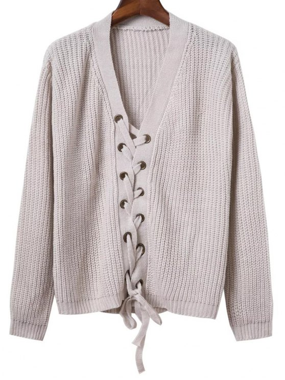 womens Lace Up Solid Color V Neck Sweater - GRAY ONE SIZE